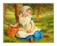 Sophie Gengembre Anderson  Young Girl Windfalls Apple Count Cross Stitch Pattern