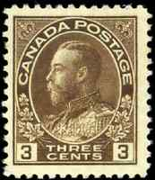 Canada #108 mint F-VF OG NH 1918 King George V 3c brown Admiral CV$85.00