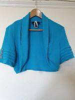 Frank Lyman Turquoise Crop Thin Knit Cardigan Bolero Top Size 16