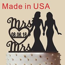 Personalized Lesbian Cake Topper with date,Same Sex Wedding gift, made in USA 5""