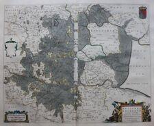 Original antique map THE FENS, 'REGIONES INUNDATAE', EAST ENGLAND, J Blaeu, 1645