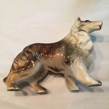 "Vtg 1960's Collie China Figurine Standing 6""x4 1/2"" Org Paper 19cent Sticker"