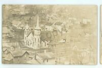 RPPC Aerial WELLSBORO? PA Mansfield? Tioga County Caulkins Real Photo Postcard