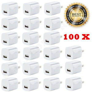 100x White 1A USB Power Adapter AC Home Wall Charger US Plug FOR iPhone 5S 6 7 8