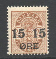 Denmark 15 Ore on 24 Ore c1904-12 Mounted Mint Stamp (2092)