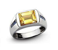 Natural Citrine Gemstone 925 Sterling Silver Men's Ring SR968