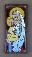 VIERGE A L'ENFANT plaque CUIVRE ÉMAILLÉE bois souvenir Abbaye St Michel KERGONAN