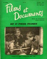 Films et Documents n°76 - 1954 - Art et cinéma Polonais - Vaillants du Ciel