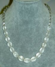 Vintage Graduated Round & Oval Faceted Rock Crystal Quartz Bead Necklace 19""