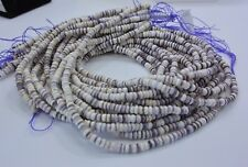 Authentic Wampum Shell  Beads 4 MM Rondelle  (16 Inch Strand) American Quahog