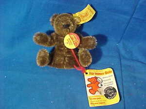 "Vintage STEIFF 3"" Stuffed Toy MINIATURE Replica TEDDY BEAR w Tags + Button"