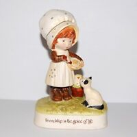 Holly Hobbie 1974 Early Porcelain Figurine JAPAN ~ Girl Mixing Bowl Cat 700HHF