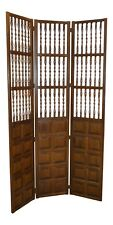 Vintage Jacobean Style Wood Room Divider/Screen w/Raised Panels & Spindles