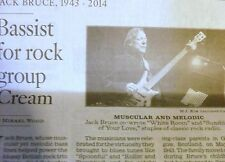 1943-2014 JACK BRUCE OBITUARY BASSIST FOR ROCK GROUP CREAM