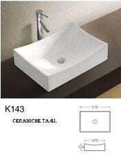K143 LAVABO D'APPOGGIO quadrato CERAMICA D'ARREDO ALTA QUALITA 51 X 37 CM.