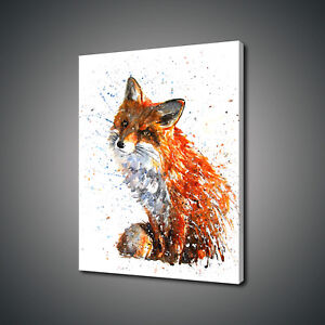 GINGER FOX WATERCOLOUR PAINTING STYLE ANIMAL CANVAS PRINT WALL ART PICTURE PHOTO