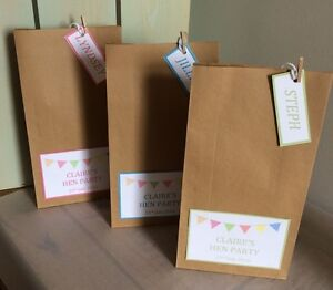 Personalised Vintage Brown Paper Favour Bags/Wedding/Christening/Hen/Gift/Party
