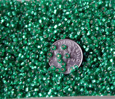 Vintage Silvery Green Czech Glass Seed Beads Silver Lined 113g HEAVY LOT 14bpi
