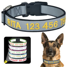 Nylon Dog Collar Personalized Custom Embroidered ID Name Phone Number Pets Dogs