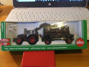 SIKU 1861 Tractor with Forestry Trailer in 1:87 scale, BNIB