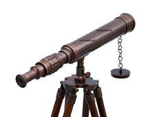 Nautical Marine Navy Brass Telescope Double Barrel With Floor Tripod Stand