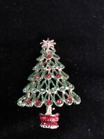 Vintage Gold Tone Green Sparkle Enamel Holiday Christmas Tree Pin Brooch Broach
