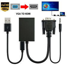 VGA Audio To HDMI Output 1080P HD TV HDTV Video Cable Converter Adapter PC Mac