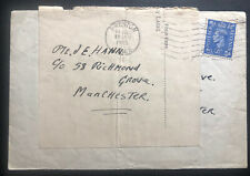 1945 Preston England War Economy Label cover To Manchester