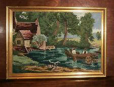 "Vintage Landscape Needlepoint Finished & Framed Horse Wagon 13.5"" x 18.5"""