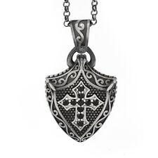 Mens Cross Shield Pendant Gemstone Mens Silver Necklace Celtic Shield Pendant