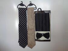 Tie rack black polyester cummerbund set + 2 tie rack ties NEW!!!