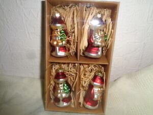 4 x Glas Baumschmuck Weihnachtsmann 6 cm hängen Weihnachten Weihnachtsbaum OVP N