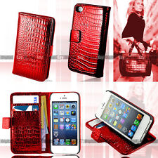 ON SALE-- RED Snake Stand Wallet Leather Case Cover For Apple iPhone SE
