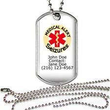 "Personalized Medical Alert Seizures Dog Tag on a 24"" Chain Necklace Name Contact"