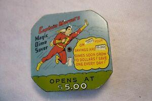 CAPTAIN MARVEL'S MAGIC DIME SAVER BANK SUPER HERO TIN LITHO VINTAGE