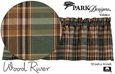 Earthy Plaid Valance, Wood River by Park Designs, 72x14, Green, Tan & Brown