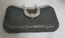 Sparkly Silver Black Evening Party Clutch with Rhinestone Open & chain