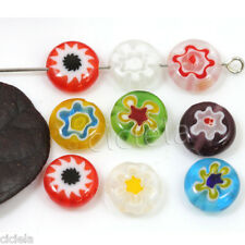 50Pcs Charms Mixed Color Flat Millefiori Jewelry Glass Loose Space Beads 6mm