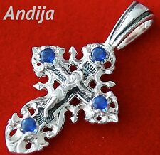 Small Save and Protect Blue Gem Stones Silver 925 Cross Russian Orthodox Jewelry