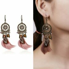 HOT Womens Feather Tassel Charms Earrings Vintage Long Dangle Ear Hook Jewelry