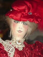 Artisan Arturo E.Reyna VICTORIAN MAIDEN COLLECTIBLES RED DRESS HAT RAGE DOLL