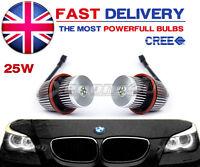 BMW XENON WHITE ANGEL EYE HALO RINGS 7000K 25W CREE LED MARKER BULBS 1 5 6 7 X5
