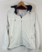 LL Bean Mens Windbreaker Jacket Size L Large Zip Through Hooded White Coat