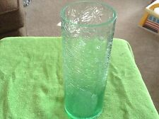 Small crinkle look green glass vase