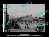 OLD LARGE HISTORIC PHOTO OF DETROIT MICHIGAN, THE DT&I RAILROAD DEPOT c1920