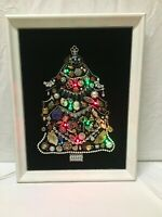 Vintage Rhinestone Costume Jewelry Christmas Tree Art Lighted Black Velvet 26x20