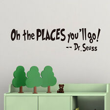 Oh The Places You'll Go! Dr. Seuss Quote Wall Sticker Kids Room Vinyl Art Decal