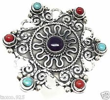 Turquoise Deco Scroll Ring Mexico Taxco Mexican Sterling 925 Silver Amethyst
