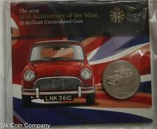 2009 Alderney £5 Bu Coin Pack Royal Mint 50th Anniversary Of The Mini