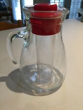 Vintage Cerve Made in Italy Clear Glass Pitcher With Ice Insert and Red Cap